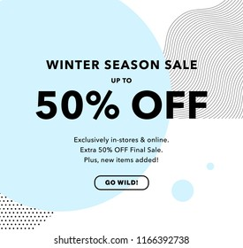 50% OFF Price Discount. Winter Season Sale. Promo banner design template. Trendy background. Flyer, poster, card, label, banner design. Vector illustration EPS10.