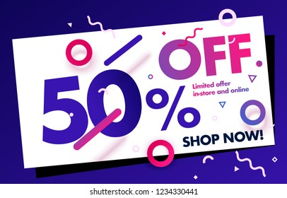 50% OFF Promo Coupon Sale Discount Banner Vector layout. Up to 50% Off Discount Web Banner. Colorful Pattern Percentage Sign.