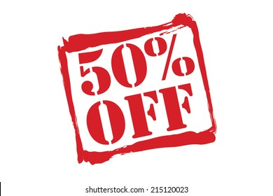 50% OFF red rubber stamp vector over a white background.