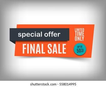 50% Off sale banner design. Trendy discount poster. Orange special offer tag. Vector illustration, eps10.