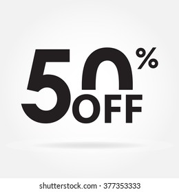 50% off. Sale and discount price sign or icon. Sales design template. Shopping and low price symbol. Vector illustration.