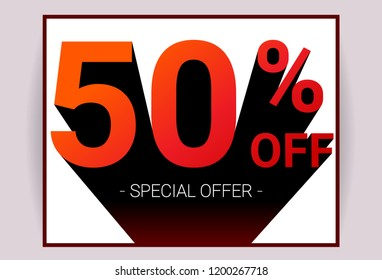 50% OFF Sale. Red color 3D text and black shadow on white background design. Discount special offer promo advertising card concept vector illustration.