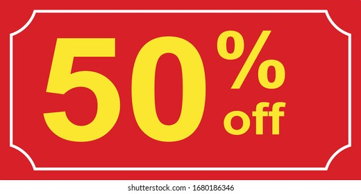 50% off sale tag. You use the banner,  Ads, Social Media & web blogs.