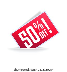50% Off Shopping Announcement Label