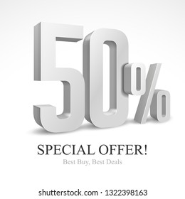 50% Off Special Offer Silver 3D Digits Banner, Template Fifty Percent. Sale, Discount. Grayscale, Metal, Gray, Glossy Numbers. Illustration Isolated On White Background. Ready For Your Design. Vector