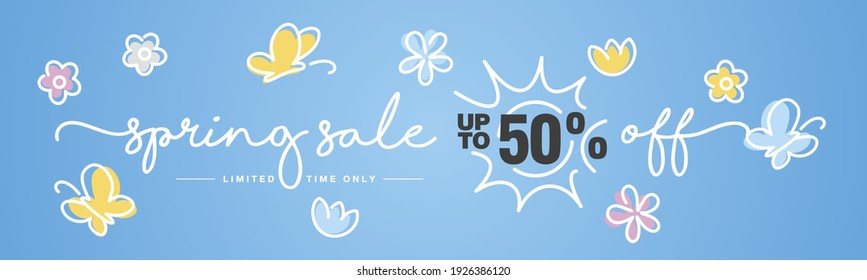 Up to 50% off Spring Sale handwritten typography. Spring blue background with sun, butterfly and spring colorful flowers