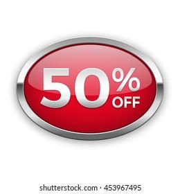50% off vector badge, silver