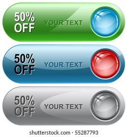 50% OFF. Vector internet buttons.