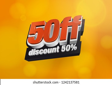 50% Off. Vector logo design. 50% discount.  Colours: Red, black, white. Yellow orange background.