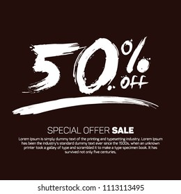 50% Offer Promotional Special  Sale Design Vector Illustration Offers Mobile Sale Fashion Electronics Home Books Jewelry Home Beauty Discount Smoky Black Color