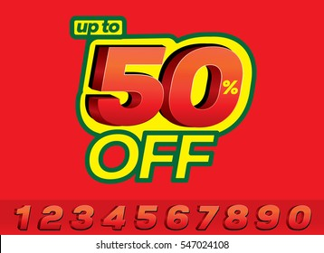 50 Percent Discount 3d Sign on Red Background,  Sale Up to 50 Percent Off, Sale Symbol, Vector format and 0 to 9 3D Numbers