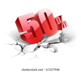 50 percent discount icon on white background