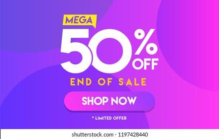 50 percent Mega Discount sale Colorful minimal gradient blue pink vector illustration banner