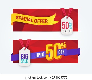 50 Percent Off Discount promotion advertising banners set isolated vector illustration