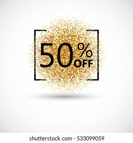 50 percent off discount promotion tag. Promo sale label. New Year, Christmas offer. Golden glitter template for shop banner, poster, certificate. Gold glittering vector flares on white background.