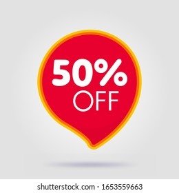 50 percent OFF Discount Sticker. Sale Tag Red Isolated Vector Illustration