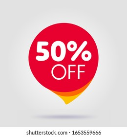 50 percent OFF Discount Sticker. Sale Red Tag Isolated Vector Illustration