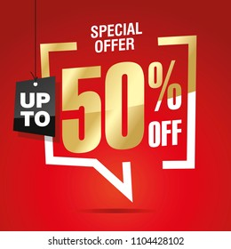 50 percent off sale isolated gold red sticker icon