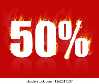 50 percent sale, hot banner. Vector illustration. Burning inscription with smoke, 50%. Advertising poster layout with flame ,red background. Fifty percent