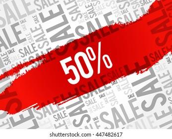 50 percent Sale words cloud, business concept background