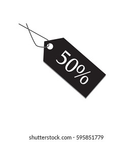 50 percent tag on white background, 50 percent tag sign.