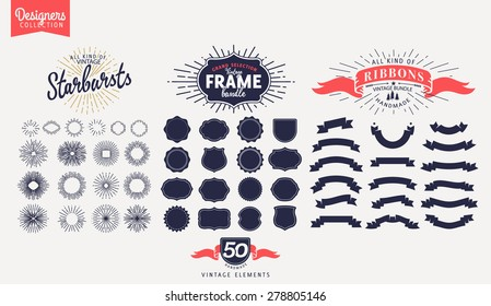 50 Premium design elements. Great for retro vintage logos. Starbursts, frames and ribbons Designers Collection