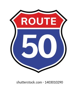 50 route sign icon. Vector road 50 highway interstate american freeway us california route symbol.