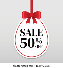 50%  sale discount vector banner with  red ribbon,for use to your business website or shop isolated on white background.