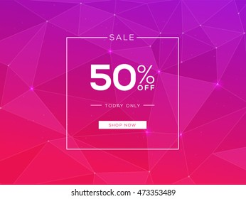 50% sale fashion banner, polygonal, pink background