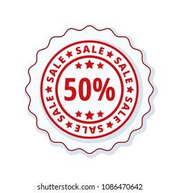 50% Sale label illustration