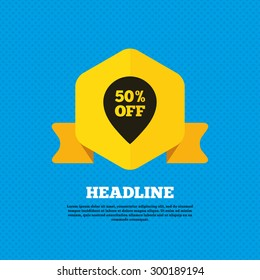 50% sale pointer tag sign icon. Discount symbol. Special offer label. Yellow label tag. Circles seamless pattern on back. Vector