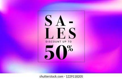 50% SALES TYPOGRAPHY ON PURPLE GRADIENT BACKGROUND