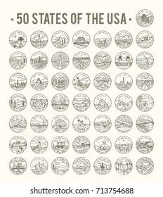 50 States of the USA. Big vector line logo bundle. #2
