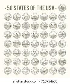 50 States of the USA. Big vector line logo bundle. #2