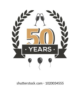 50 th anniversary retro vector emblem. Fifty years vintage icon
