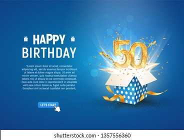 50 th years anniversary banner with open burst gift box. Template fiftieth birthday celebration and abstract text on blue background vector illustration