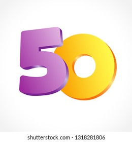 50 th years old congrats. Isolated abstract colored graphic design template. Up to 50 or -50 % off logotype. Round shape 0. Violet 5 and gold null flying digits. Discount emblem on white background.