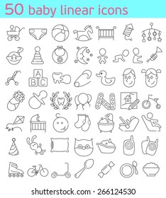 50 thin line baby icons set.