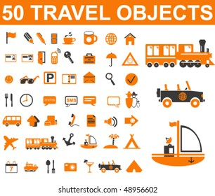 50 travel signs. vector