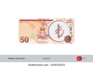50 Turkish Lira Banknote. Flat style highly detailed vector illustration. Isolated on white background. Suitable for print materials, web design, mobile app and infographics.