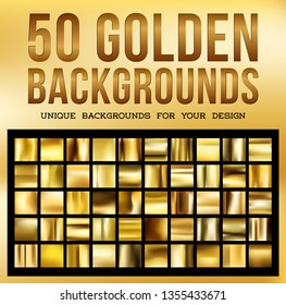 50 unique gold backgrounds. Golden glossy fabric with shimmery gold colors. Set 2. Vector illustration