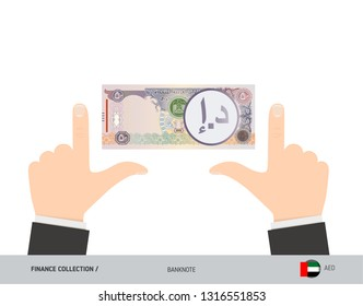 50 United Arab Emirates Dirham Banknote. Business hands measuring banknote. Flat style vector illustration. Business finance concept.