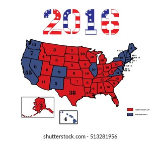 50 United States colored in Republican Red, Democrat Blue and displaying the number of electoral votes for the general Presidential election of 2016.