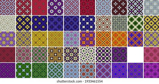 50 Universal different geometric seamless patterns. Endless vector texture can be used for wrapping wallpaper, pattern fills, web background,surface textures. Set of colorful ornaments.