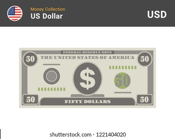 50 US Dollar bill. American money banknote. Currency vector set. Stylized drawing of bills. Flat vector illustration.