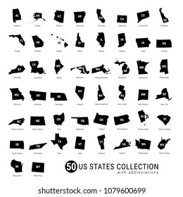 50 US States Vector Collection. High-Detailed Black Silhouette Maps of All 50 States. US States with Abbreviations.