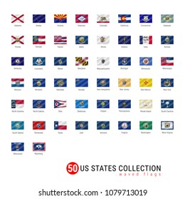 50 US States Vector Flag Set. Official Vector Flags of All 50 States. US States Waved Flags with Names.