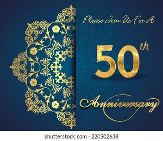 50 year anniversary celebration pattern design, 50th anniversary decorative Floral elements, ornate background, invitation card - vector eps10
