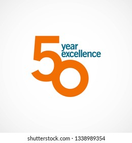 50 Year Anniversary Excellence Vector Template Design Illustration