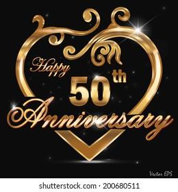 50 year anniversary golden heart, 50th anniversary decorative golden heart design - vector eps10